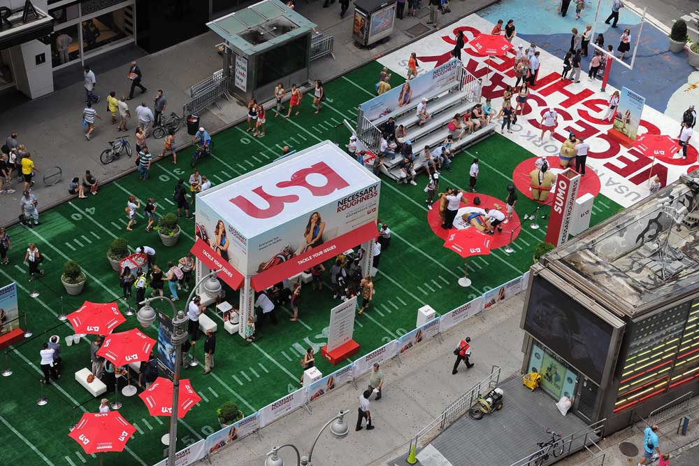 necessary roughness brand activity in Times Square
