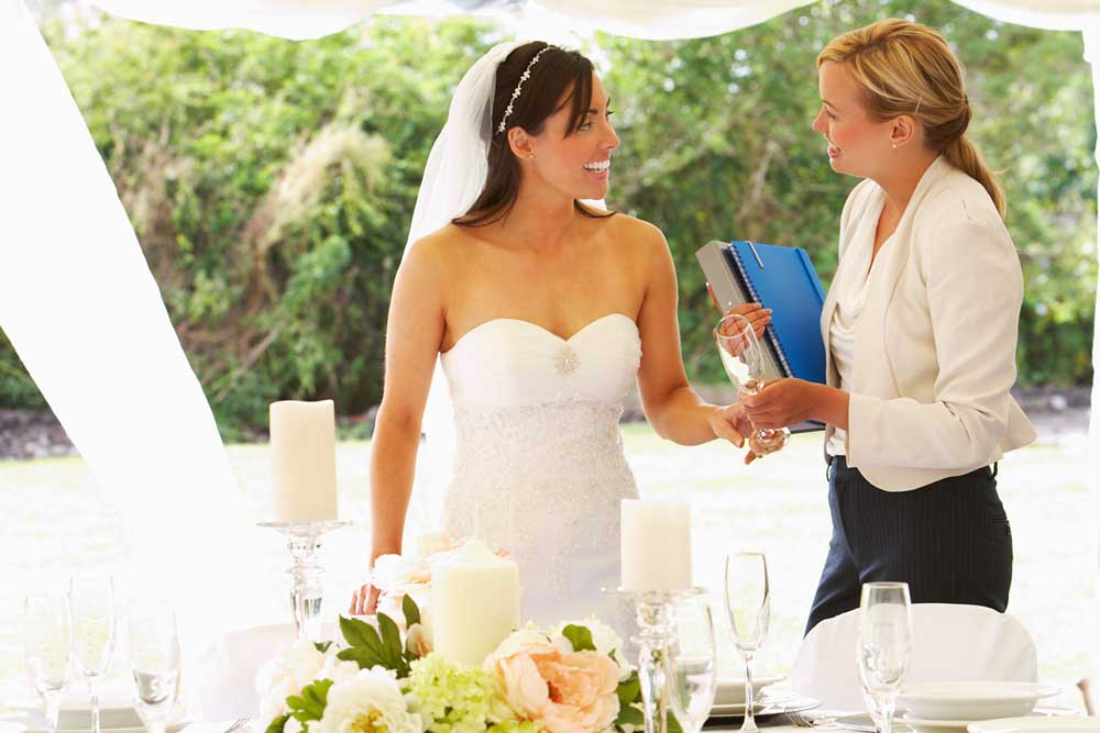 wedding planner with bride