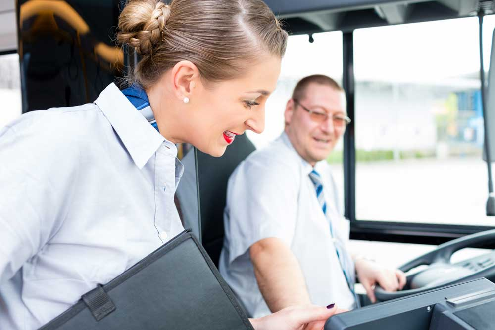 transport co-ordinator with coach driver