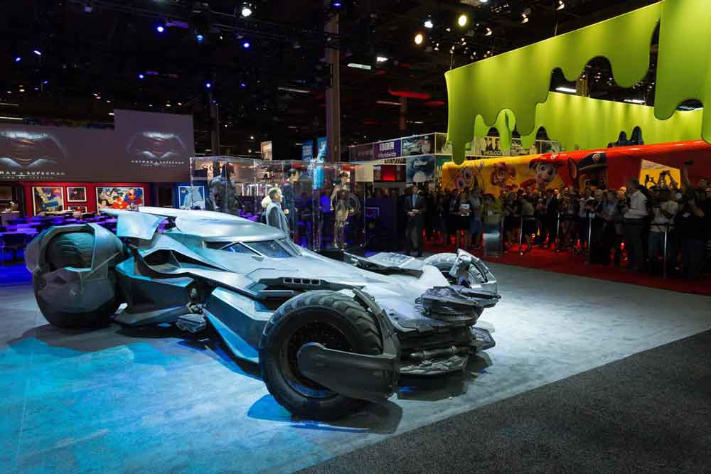batmobile on Warner Bros stand at licensing expo