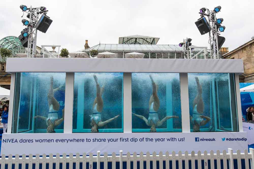 Nivea Dare to Dip swimmers in tank