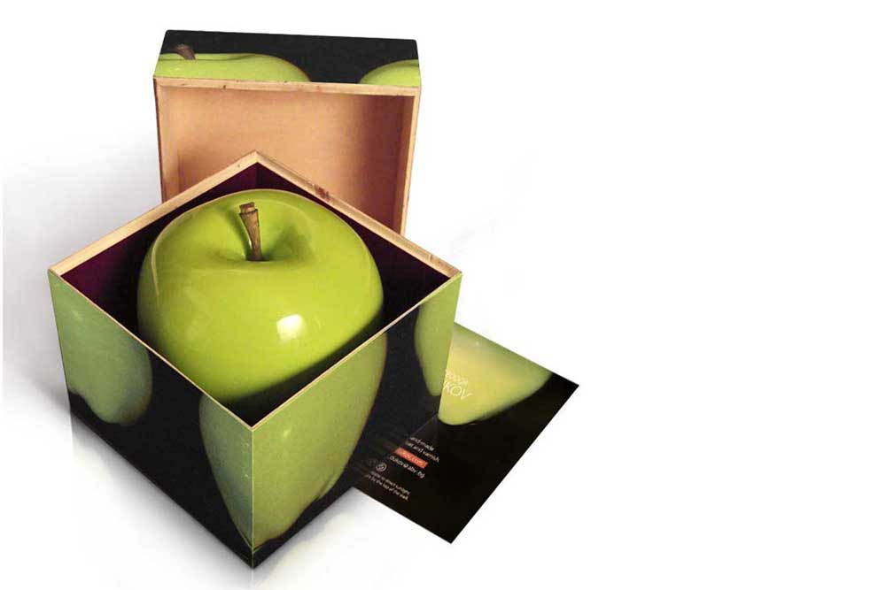 wooden apple in gift box