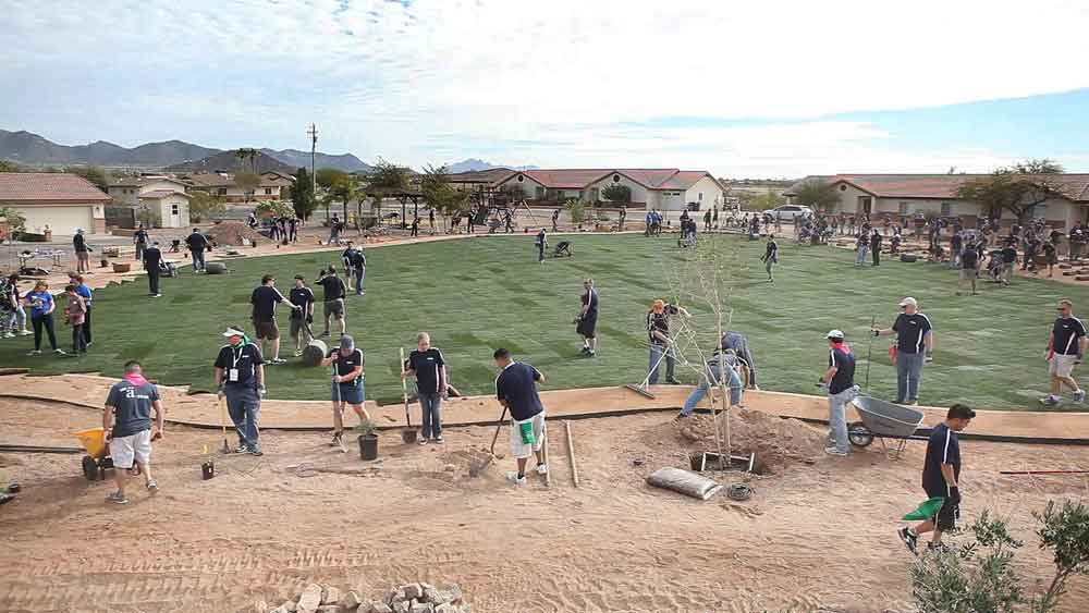 team building a park in the desert