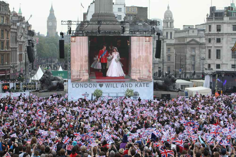 Royal wedding public viewing celebrations Trafalger Square